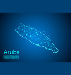 Aruba map with nodes linked by lines concept vector