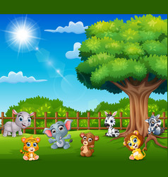 Baby animals are enjoying nature by the cage vector