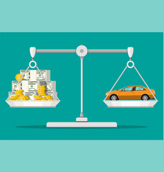 balance scales with money and car vector image