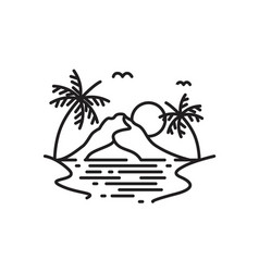 Beach with palm tree and mountain line art logo vector