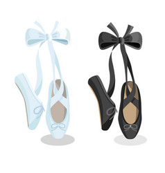 Black and white pointes female ballet shoes on vector