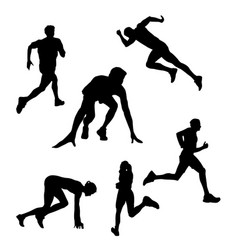 Black silhouette of a runner athlete on a white vector