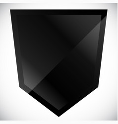 blank black shield shape with gloss effect vector image