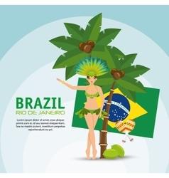 Brazil rio de janeiro poster garota flag coconut vector