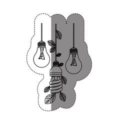 Bulbs hanging with save bulb leaves icon vector