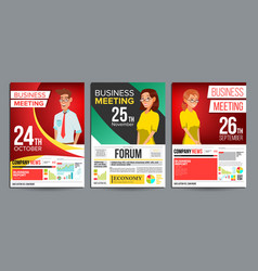business meeting poster set businessman vector image