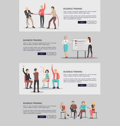 Business training set of web posters with people vector