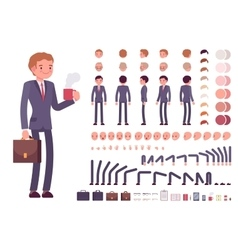 Businessman character creation set vector