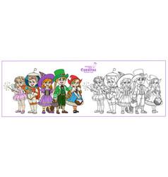 Children in carnival costumes fairy vector