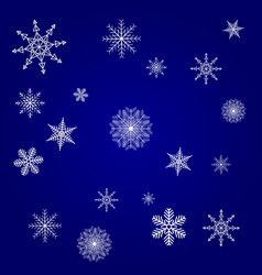 christmas card blue with white snowflakes vector image
