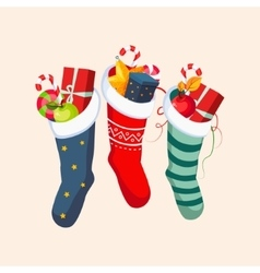Christmas Socks with Presents vector image