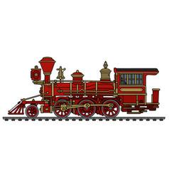Classic red wild west steam locomotive vector