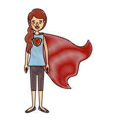 Color crayon stripe cartoon full body super hero vector