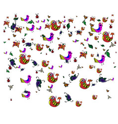 colorful birds and leaves in dudling style on a vector image