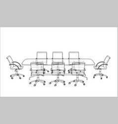 Conference table with chairs in sketch style vector
