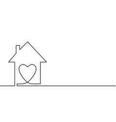 Continuous one line drawing heart inside house vector