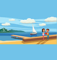 couple sitting on the deck chairs at the sea view vector image