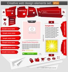 creative web design elements set red vector image