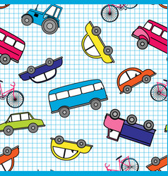 Cute hand drawn kids toy transport baby bright vector