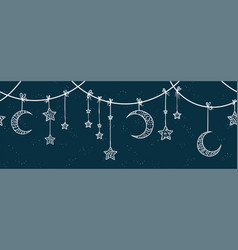 Cute hand drawn night sky horizontal seamless vector