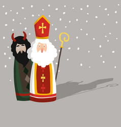 cute hand drawn saint nicholas with devil greeting vector image