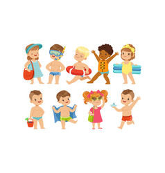 cute happy kids playing swimming and having fun vector image