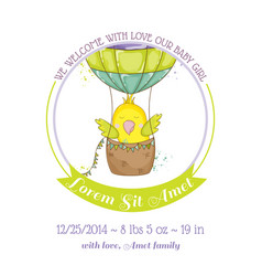 Cute parrot flying in air balloon baby shower vector