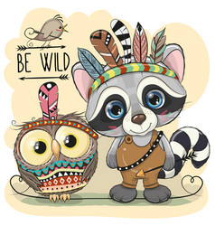 Cute tribal raccoon and owl with feathers vector