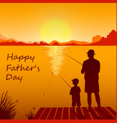 Dad and son fishing on sunset together vector