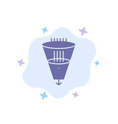 Data filter filtering filtration funnel blue icon vector