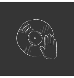 Disc with dj hand Drawn in chalk icon vector