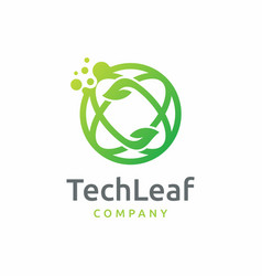 Dot tech leaf logo design vector
