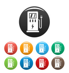 electric car station icons set color vector image