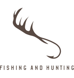 Fishing and hunting with deer horns and fishing vector