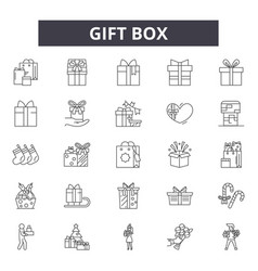 gift box line icons signs set outline vector image