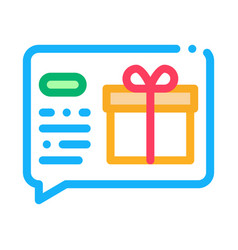 Gift notification message icon outline vector