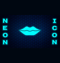 Glowing neon smiling lips icon isolated on brick vector