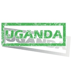 Green outlined Uganda stamp vector