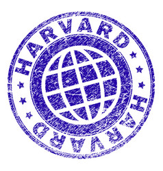 Grunge textured harvard stamp seal vector