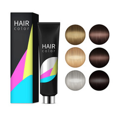 Hair coloring realistic set vector