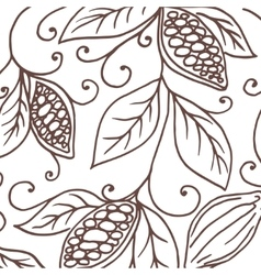 Hand drawing background of cocoa beans vector image
