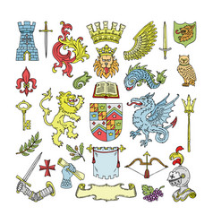herald heraldic shield and heraldry vintage vector image