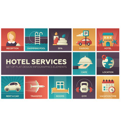 Hotel services - set of flat design infographics vector