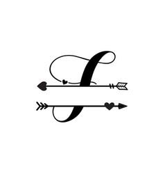 Initial f love monogram split letter isolated vector