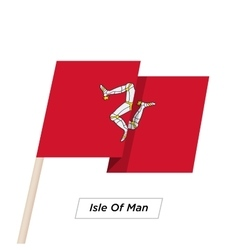 Isle Of Man Ribbon Waving Flag Isolated on White vector image