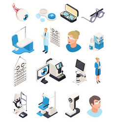 isometric ophthalmology icons collection vector image