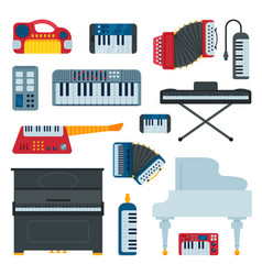 keyboard musical instruments musician equipment vector image