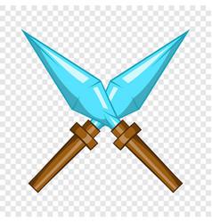 Kunai ninja throwing dagger icon cartoon style vector