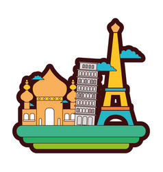 Line color taj mahal and leaning tower of pisa vector