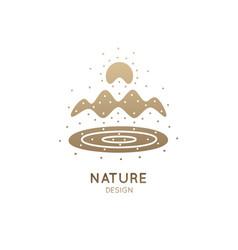 Logo mountains color vector
